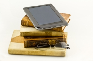 Picture of Kindle and books