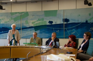 Panel of speakers at Reclaiming local democracy book launch June, London