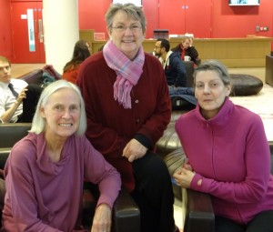 Marianne, Eileen and Caroline meeting at Kings Place in 2014
